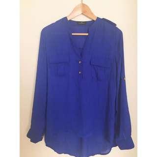 Blue Polyester Chiffon