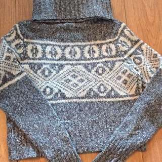 Grey And White Turtleneck Knit Sweater