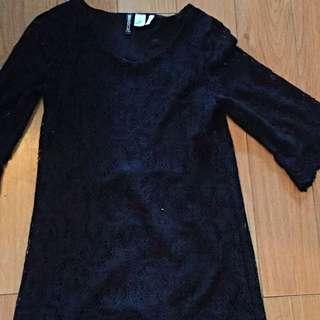 Black Lace Crochet Dress