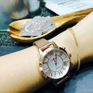 Lavenda玫瑰金羅馬錶