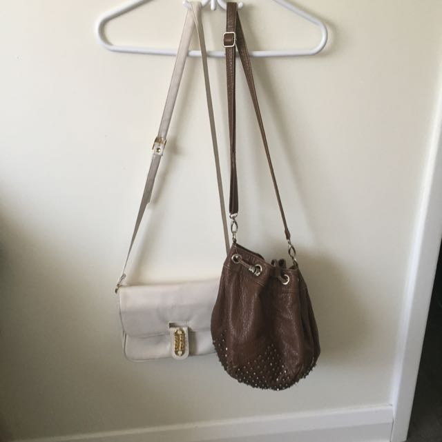 2 Bags-white With Gold Detailing And Brown With Studs Detailing Really Cute!:)