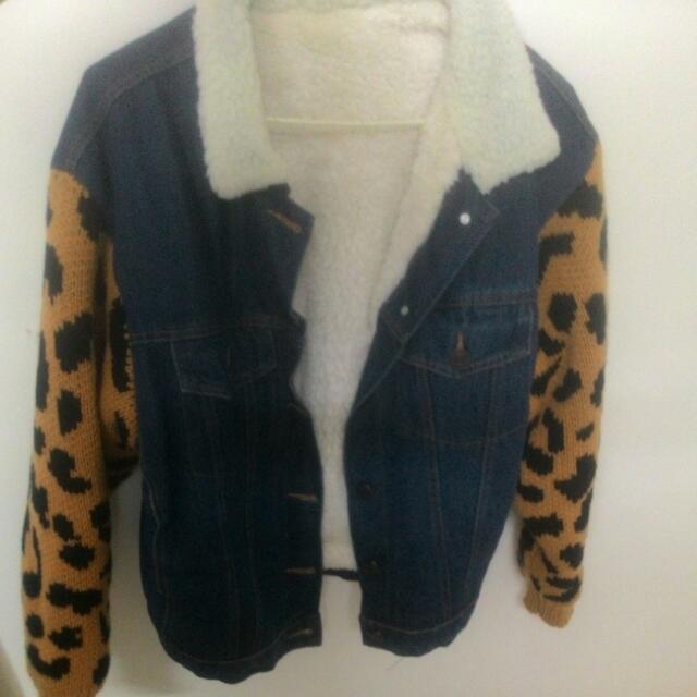 超保暖拼接豹紋牛仔外套