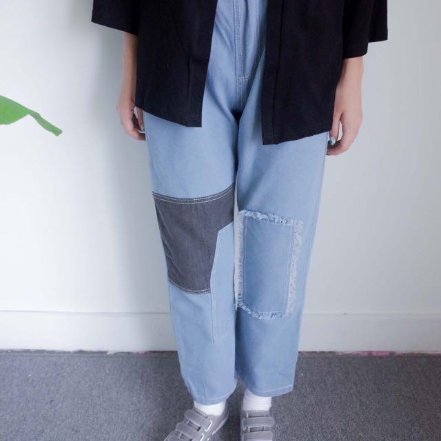 破壞寬褲 Per. 貼布牛仔褲 牛仔褲 寬闊 淺色寬褲