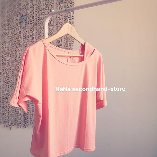 全新 顯瘦短袖T恤 韓風學生棉質上衣 露肩T恤(粉橘色)XL