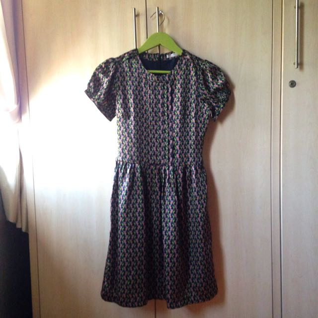 [Accent] Green Patterned Dress
