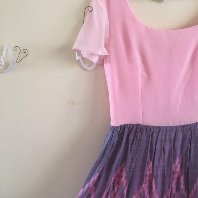 Baby Pink Tenun Ikat Dress