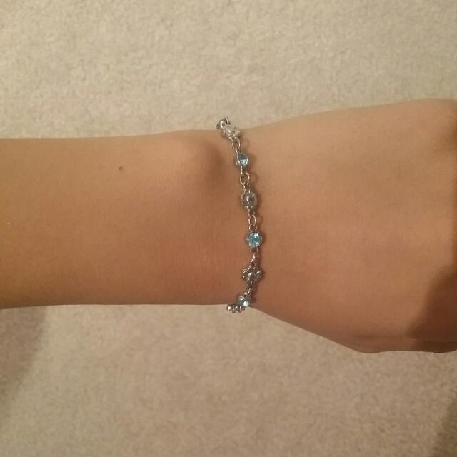 Blue Jeweled Flower Charm Bracelet