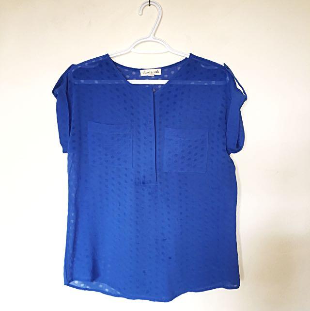 Blue Semi-sheer Top