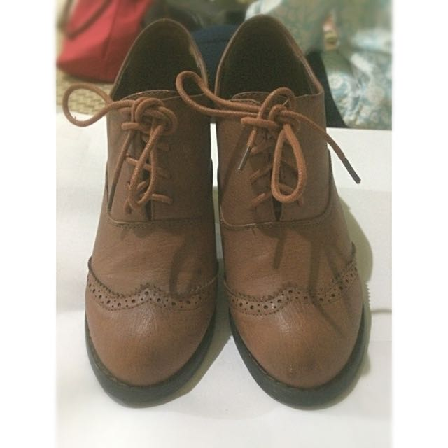 Ankle Boots Oxford Wedges Leather Brown Vintage