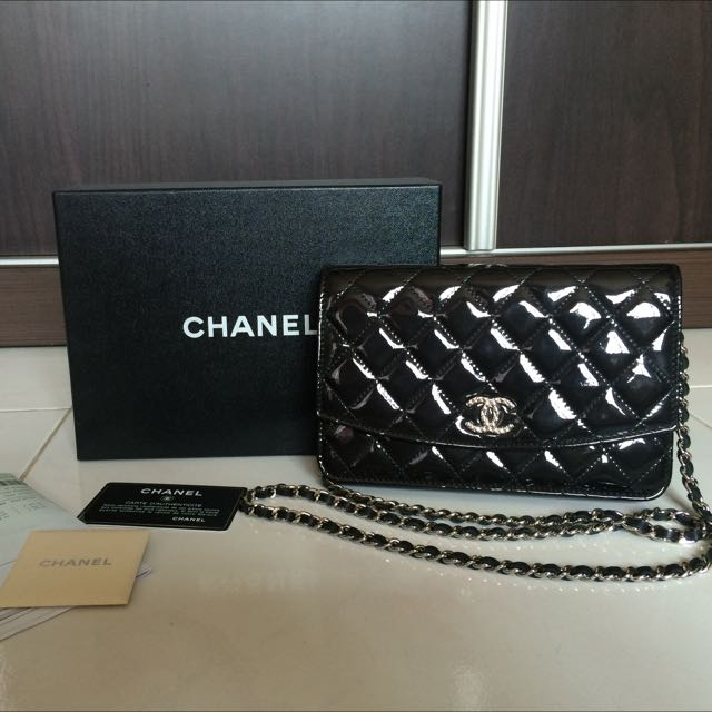 0f810783d986 Chanel WOC SHW Black pATENT, Luxury, Bags & Wallets on Carousell