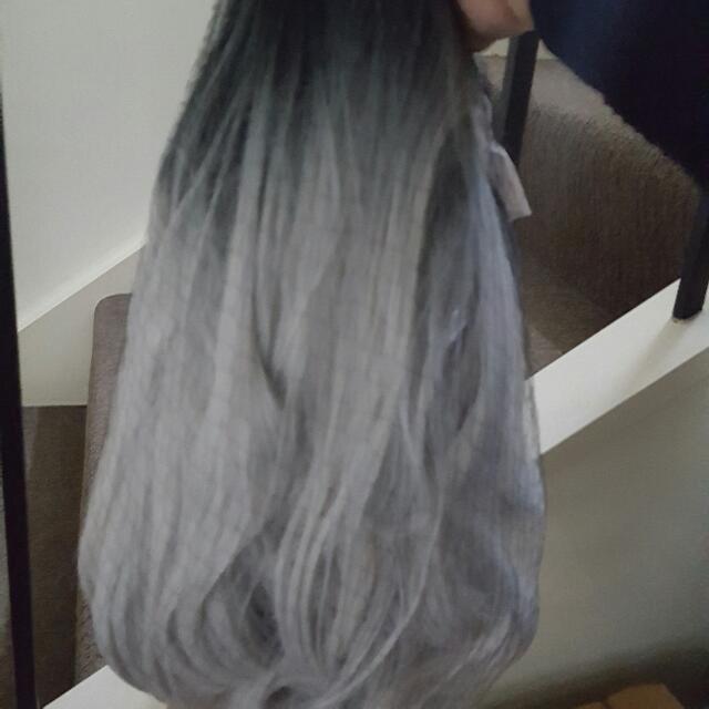 Custom Wig Grey And Black Balayage