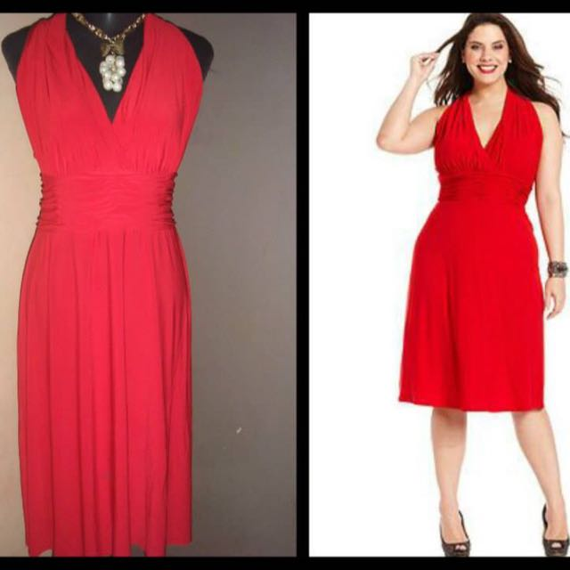 Evan Picone Halter Dress With Ruched