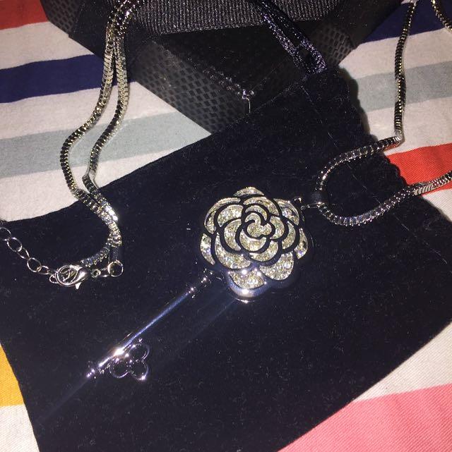 Floral Key Silver Crystal Pendant