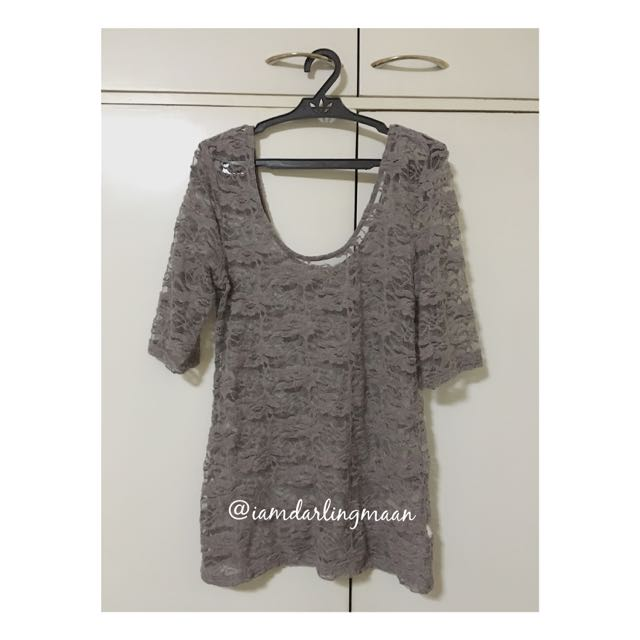 Pre-loved Gray Lace Top