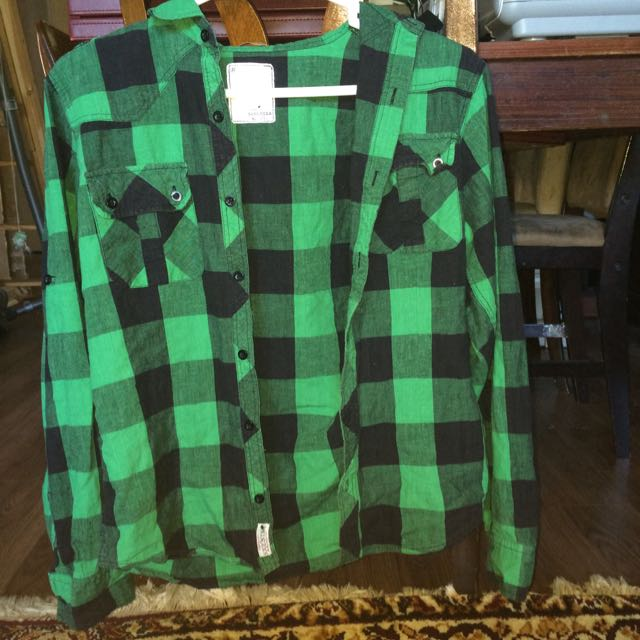 Green Flannel Top