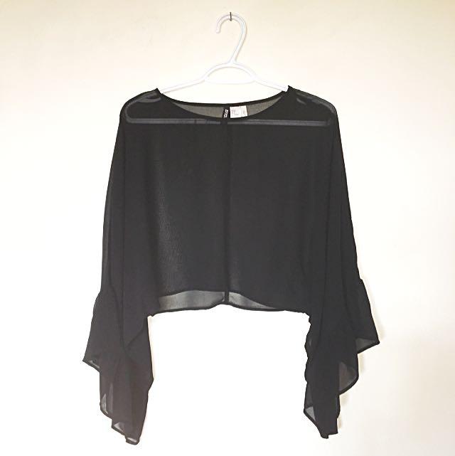 H&m Sheer Crop Top With Sleeves