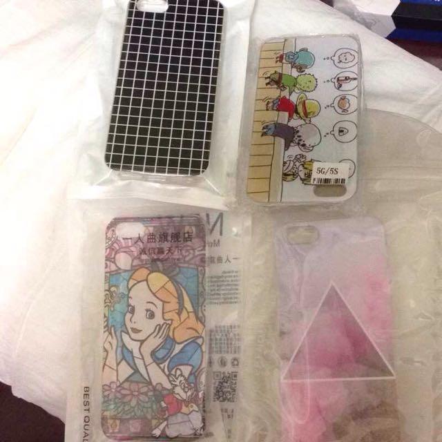 i5/i5s 手機殼 賠本售 四個合售 愛麗絲 航海王 格紋 渲染 iPhone