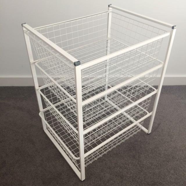 IKEA Antonius wire basket set - white
