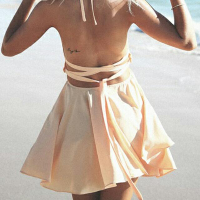 Light Pink Backless Crop Cut Out Skater Beach Dress Size 8 New