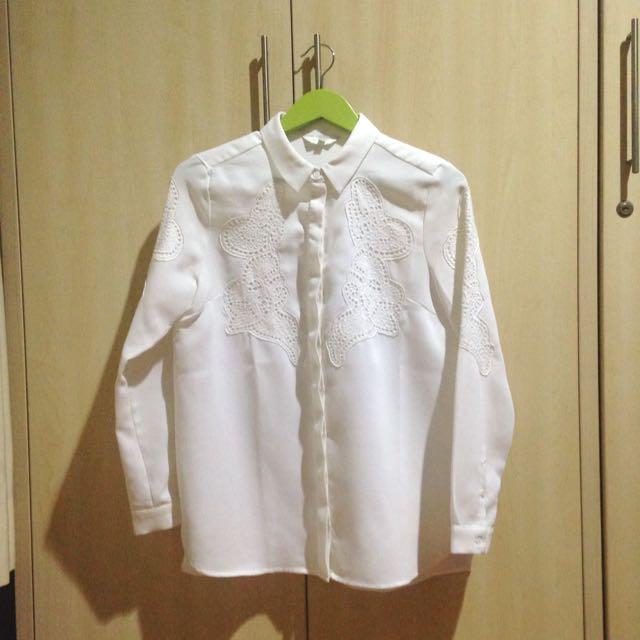 [Lily] White Padded Shirt