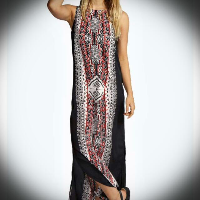 Lizzi Printed Column Maxi Dress - Boohoo - Size 8 - New With Tags