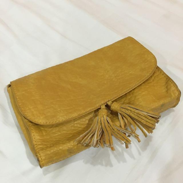 Mango Clutch Bag In Mustard