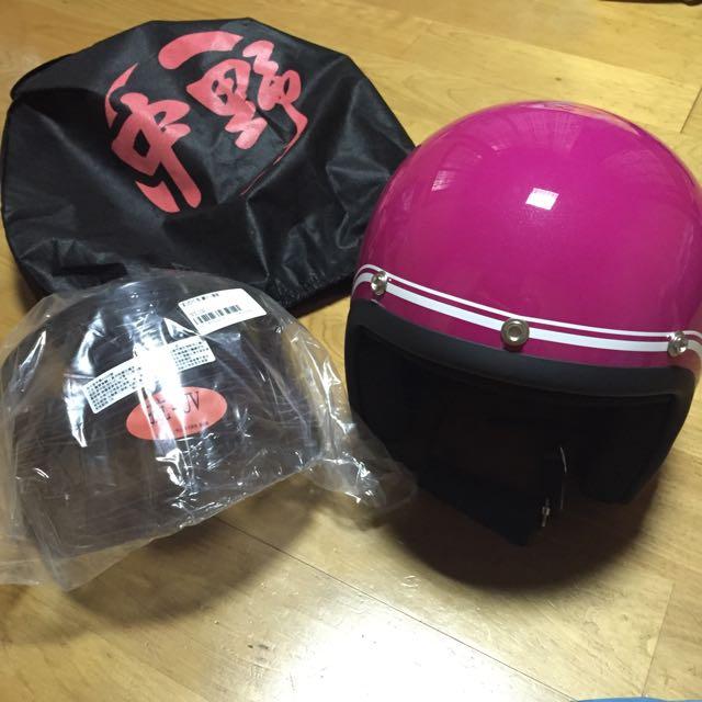 中野NAKANO新款復古安全帽-桃紅色