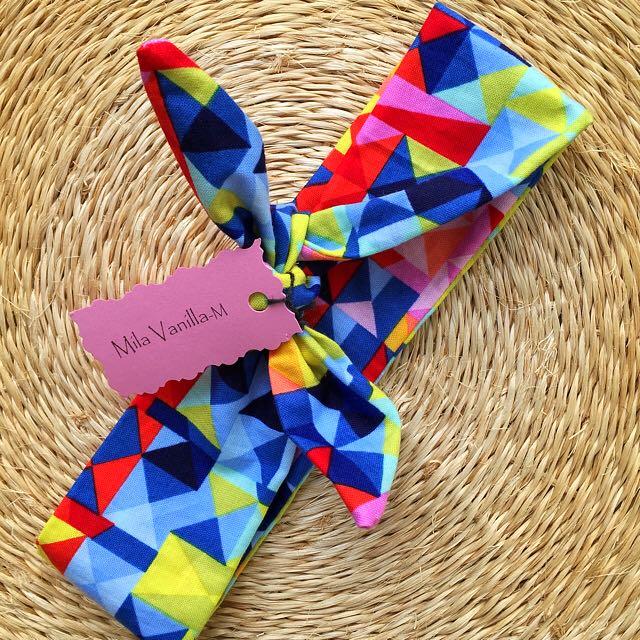New Handmade Baby Girls Top Knot Tie Headband, Size M