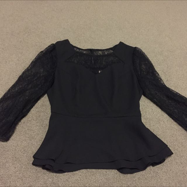 Review Black Lace Blouse/top New Size 8