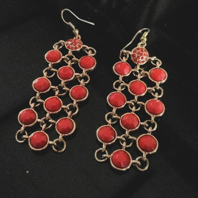 Ruby Red Chain Panel Drop-down Earrings