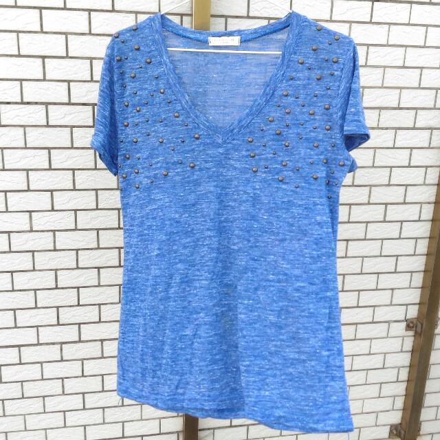 藍色雪花紋鉚釘T-shirt