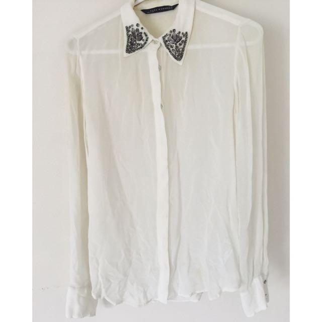 Zara Embellished Collar Shirt Size XS