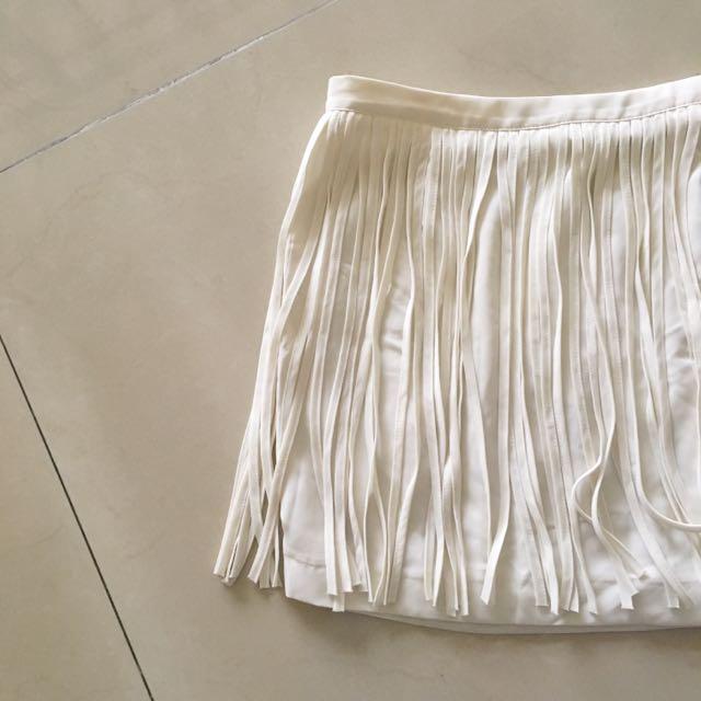 Zara White Fringe Skirt