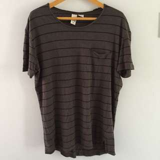 Striped Olive Men's Small Loose T-Shirt