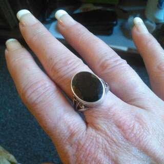 925 Silver Ring With  Dark Purple Rock