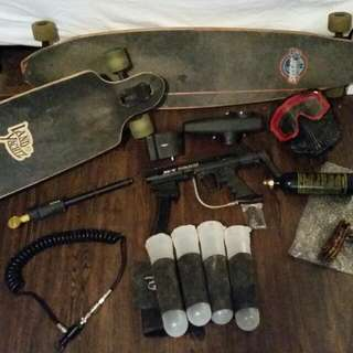 Long board, Paintball Gun, Smoking Devices