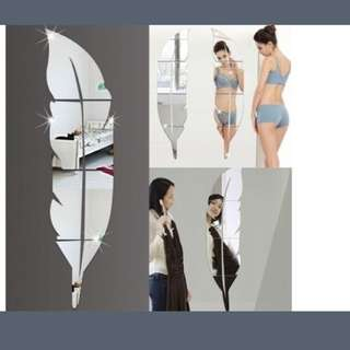 3D Wallpaper Feather Acrylic Mirror