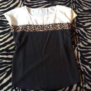 Leopard Print Black & White Top Size 18