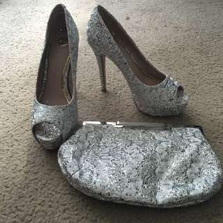 Zu White And Silver Lace Heel Size 7.5