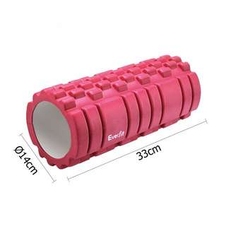Yoga Gym Pilates EVA Grid Foam Roller Pink 33 x 14cm Fitness Workout Equipment