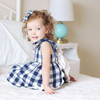 ✔️STOCK - 2pc SET CHECKERED DRESS TOP & BLOOMER SHORTS BABY GIRL CHILDREN CLOTHING