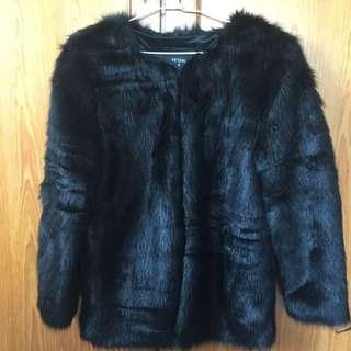 高質感黑色皮草外套