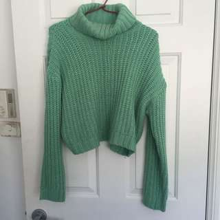 Green Mink Knitted Jumper, Size 10
