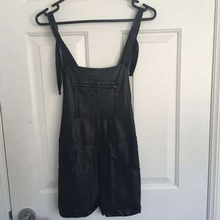 Leather Black Overalls Size 6