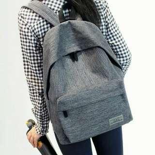 純色帆布後背包 韓版 小清新 學院風 旅行包 大容量