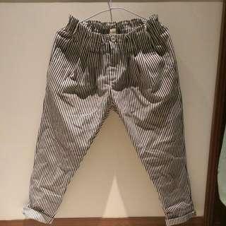 寬版條紋褲