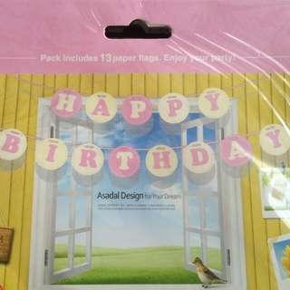 Birthday Banner (round PINK)