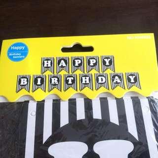 Birthday Banner (stripes BLACK)
