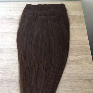 """Remy Hair Extensions 20"""" Brown 5 Piece Clip In"""