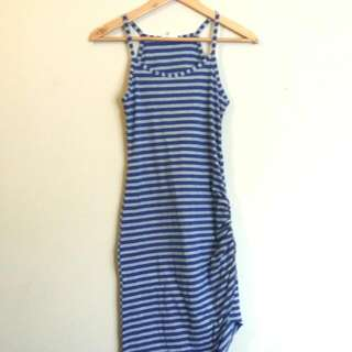 Maxi Dress Blue And Grey Striped Beach Or Casual Wear Size 8